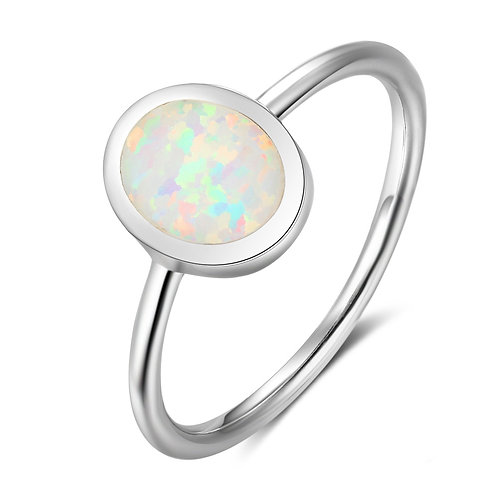 CREATED OPAL RING IN STERLING SILVER