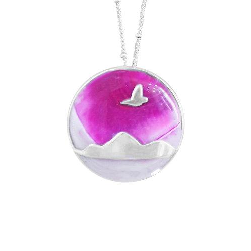 STERLING SILVER MOUNTAIN BIRD PINK AGATE NECKLACE