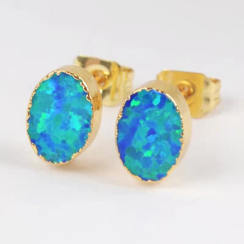 GOLD-PLATED SYNTHETIC BLUE OPAL OVAL STUDS