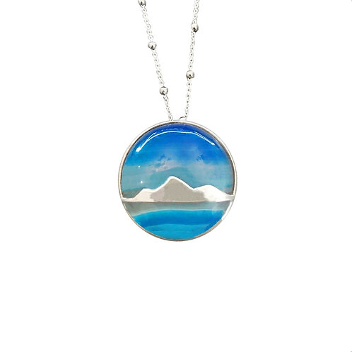 SILVER MOUNTAIN WITH BLUE SKY AGATE NECKLACE