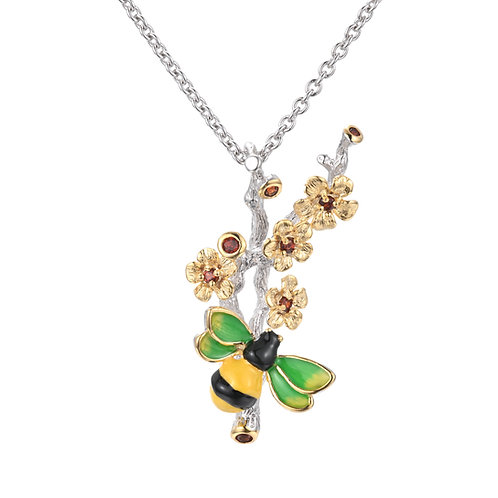 Hand  enamelled bee sterling silver necklace with gold plated garnet blossom
