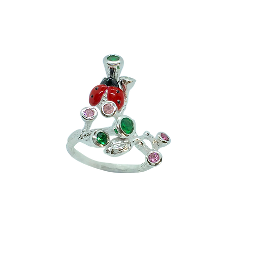 LADYBIRD STERLING SILVER RING WITH NANO GREEN AND PINK SPINEL