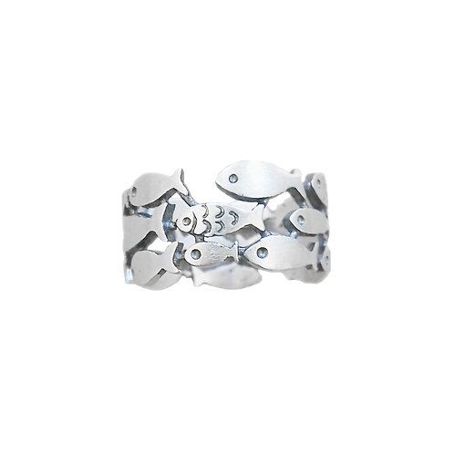LOVELY FISH RING IN STERLING SILVER
