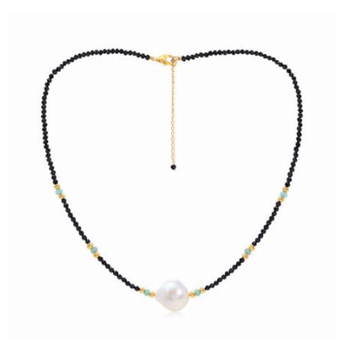 BLACK SPINEL NECKLACE WITH FRESHWATER LARGE PEARL & AMAZONITE