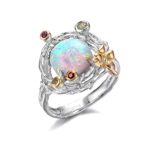BUTTERFLY ON FLOWER OPAL RING