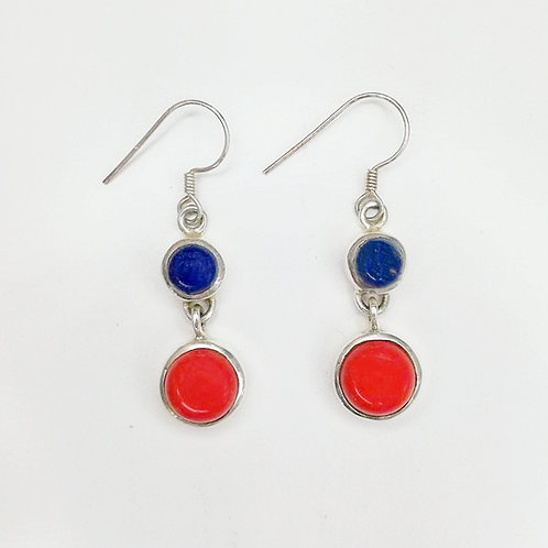 LAPIS LAZULI AND RED CAROL STERLING SILVER EARRINGS