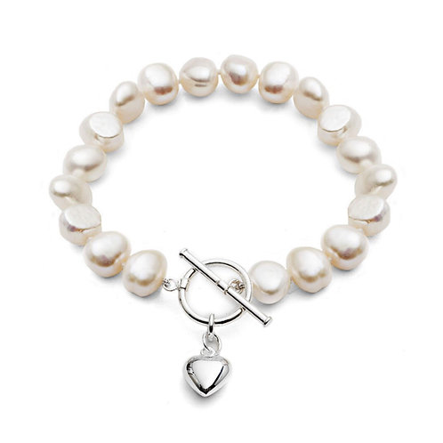 FRESHWATER PEARL BRACELET WITH SILVER PUFFED SMALL HEART CHARM