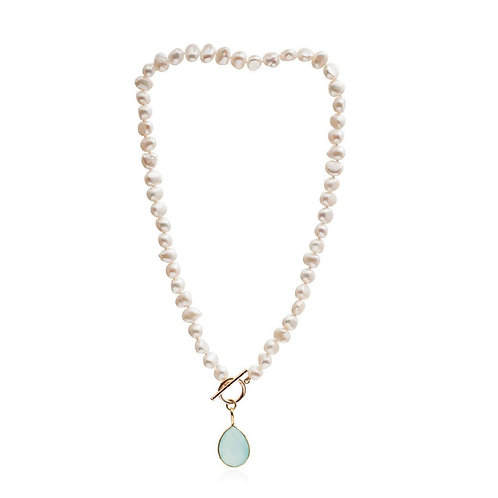 AQUA CHALCEDONY DROP PENDANT AND FRESHWATER POTATO PEARL NECKLACE