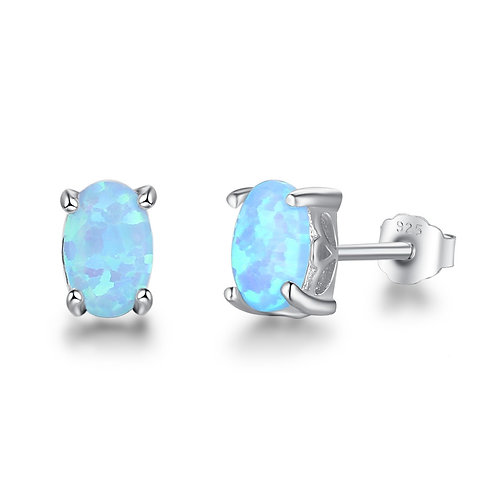 CREATED BLUE OPAL STUDS IN STERLING SILVER