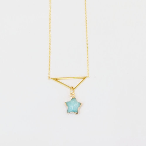 GOLD-PLATED TRIANGLE NECKLACE WITH AMAZONITE STAR