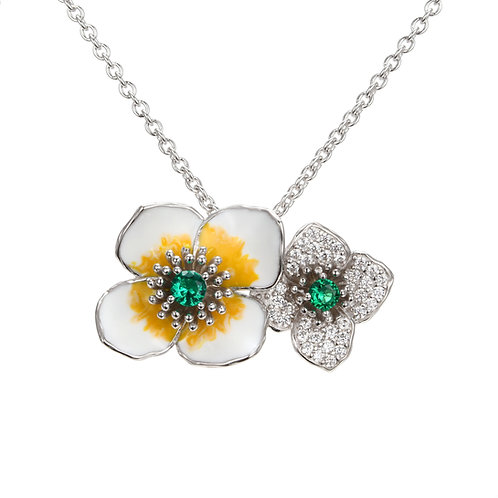 LUCKY CLOVER ENAMEL SILVER NECKLACE
