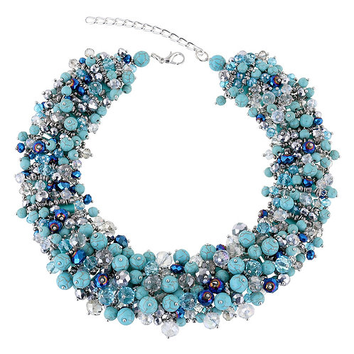 BLUE TURQUOISE BEAD PARTY NECKLACE