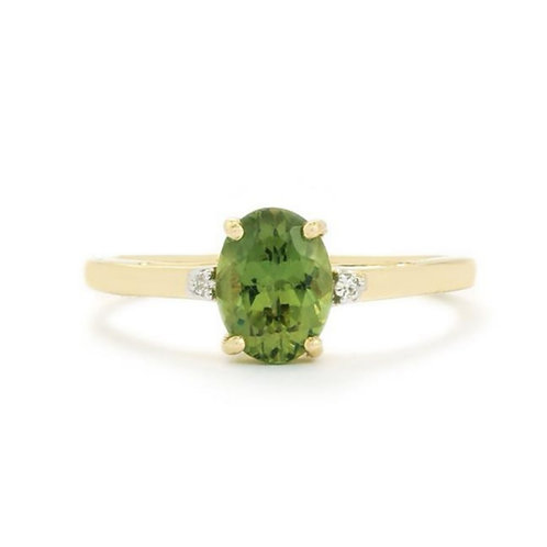Green Apatite 9ct Gold Ring ATGW 1.17cts