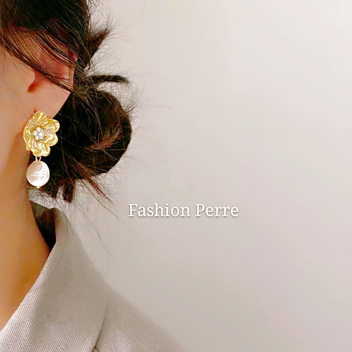 CULTURED PEARL CHERRY BLOSSOM STATEMENT EARRINGS