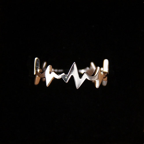 HEART BEATS STERLING SILVER RING