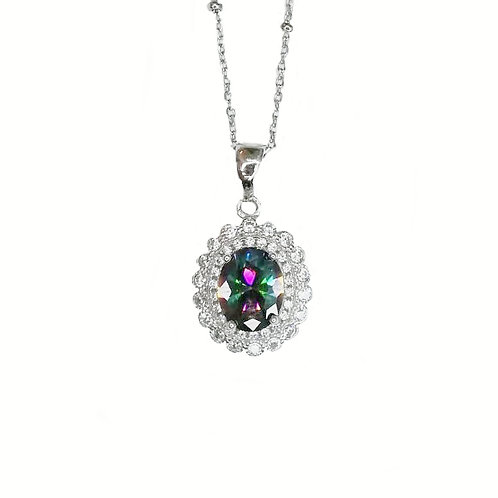 MYSTIC TOPAZ WITH CZ STERLING SILVER NECKLACE