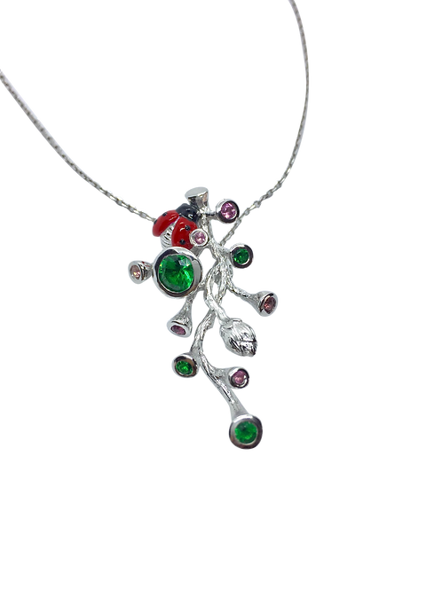 LADYBIRD STERLING SILVER NECKLACE WITH NANO GREEN & PINK SPINEL