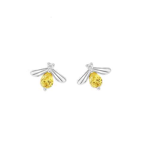 STERLING SILVER BEE STUDS WITH CITRINE