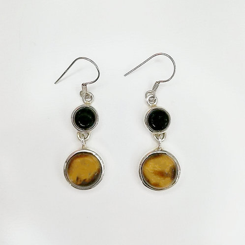 BLACK ONYX AND TIGER EYES EARRINGS