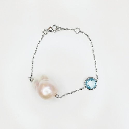 LARGE BAROQUE PEARL WITH TOPAZ STERLING SILVER BRACELET
