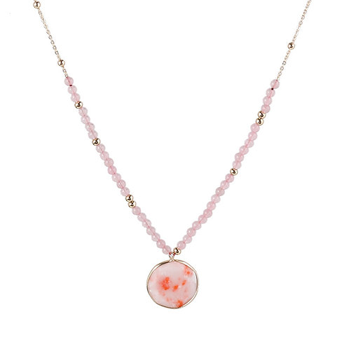 PINK QUARTZ BEADED NECKLACE