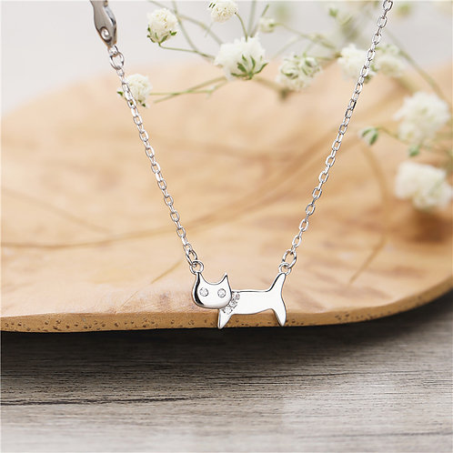 CAT AND FISH NECKLACE IN STERLING SILVER