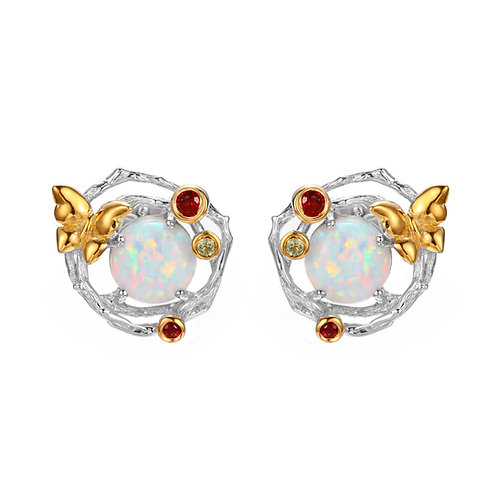 BUTTERFLY ON FLOWER OPAL EARRINGS