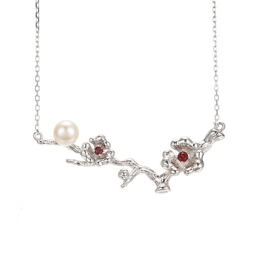CHERRY BLOSSOM SILVER NECKLACE W. FRESH WATER PEARL