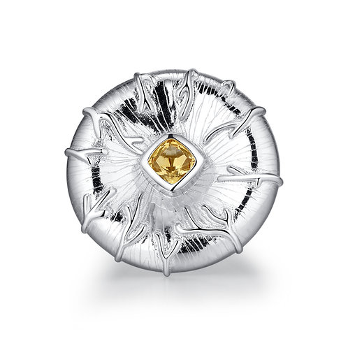 LILYPAD RING WITH CITRINE IN STERLING SILVER