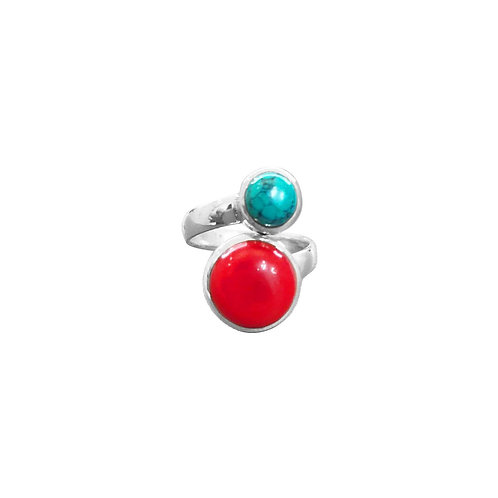 RED CORAL & TURQUOISE OPEN RING