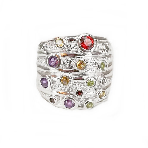 GARNET, AMETHYST, CITRINE AND PERIDOT STERLING SILVER RING