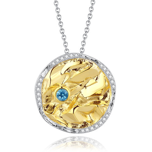 DISC NECKLACE WITH BLUE TOPAZ IN GOLD-PLATED STERLING SILVER