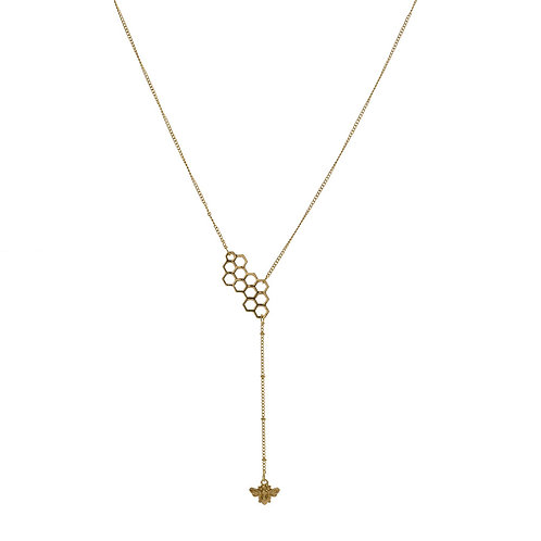 HONEYCOMB AND DROP BEE NECKLACE
