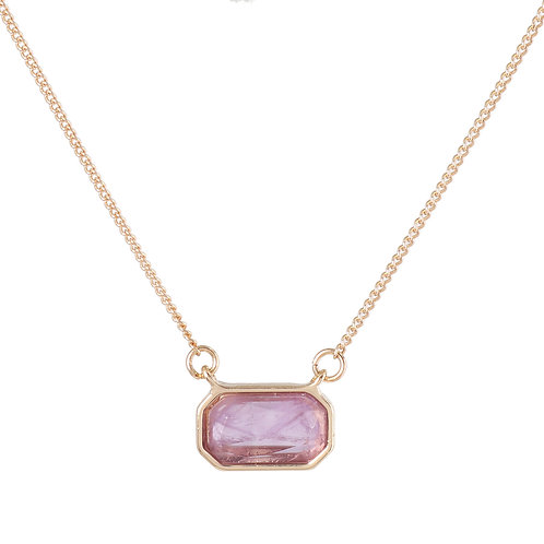 RECTANGLE AMETHYST GOLD PLATED NECKLACE
