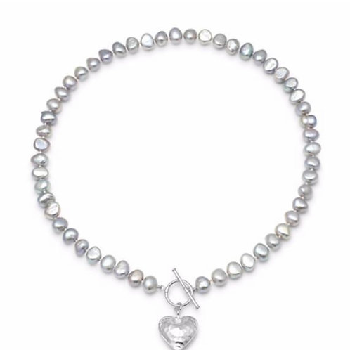 FRESHWATER POTATO GREY PEARL NECKLACE WITH SILVER PUFFED HAMMERED HEART