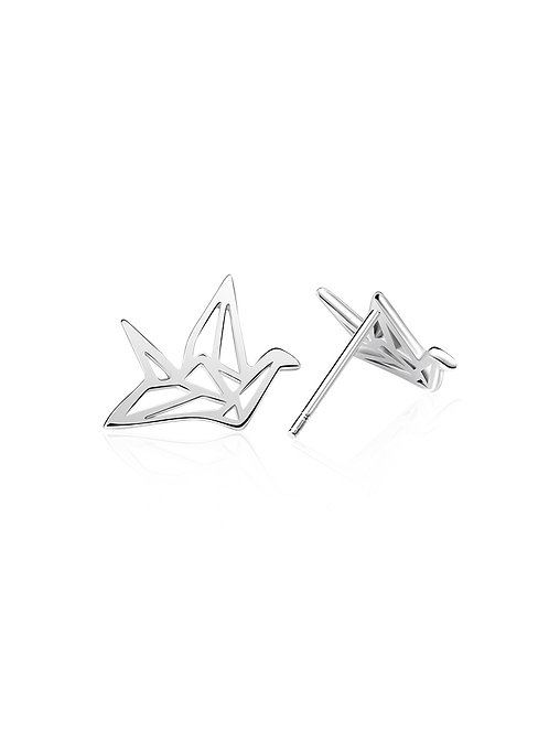 ORIGAMI CRANE STUD EARRINGS IN STERLING SILVER
