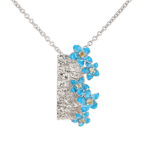FORGET ME NOT IN ENAMEL AND CITRINE NECKLACE