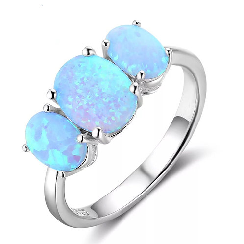 THREE STONE BLUE FIRE OPAL & STERLING SILVER RING