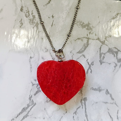 RED AGATE HEART NECKLACE