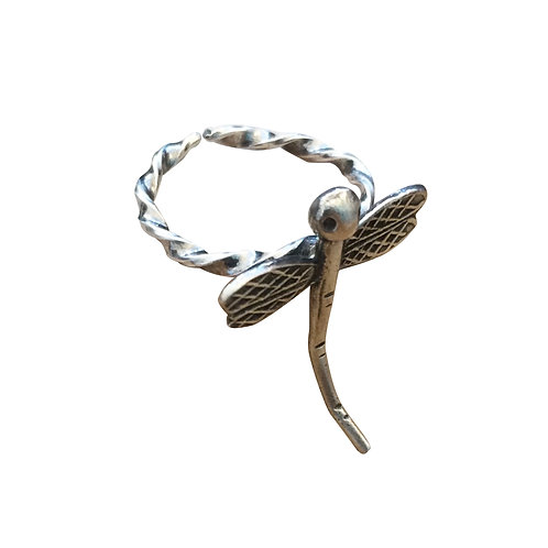 DRAGONFLY WITH A TWIST ADJUSTABLE BLACK STERLING SILVER RING