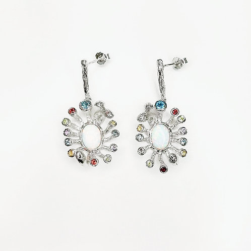 OPAL GARLAND STERLING SILVER EARRINGS WITH MULTICOLOUR GEMSTONES