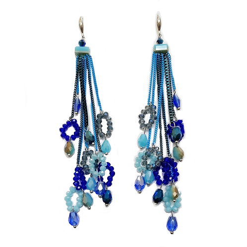 HAND BEADED CRYSTAL EARRINGS