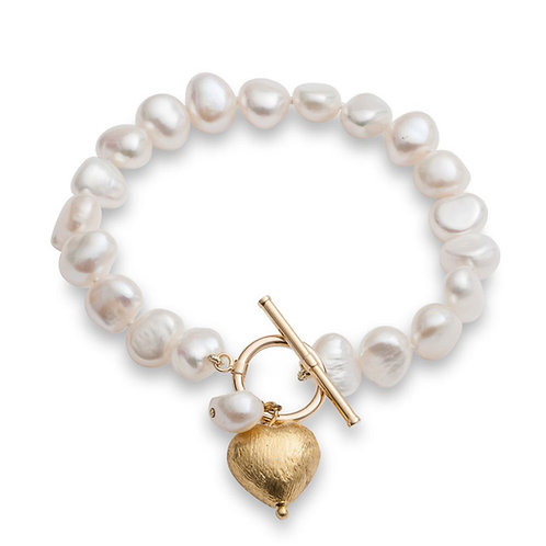 FRESHWATER POTATO PEARL BRACELET WITH GOLD PLATED PUFFED HEART CHARM