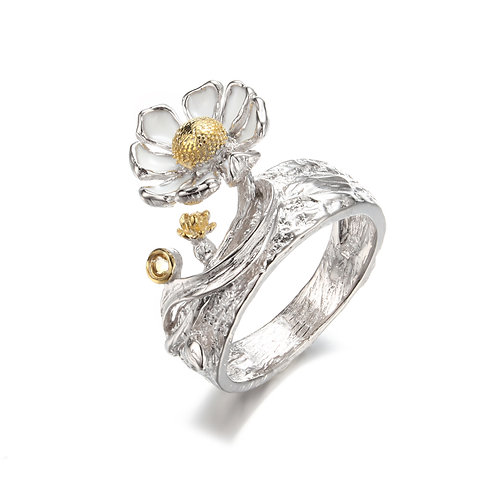 CHUNKY DAISY RING WITH CITRINE IN STERLING SILVER