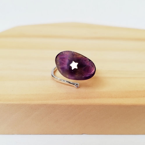 AMETHYST WITH STAR ADJUSTABLE RING IN STERLING SILVER