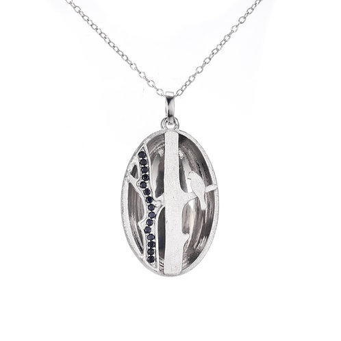 BIRD ON BRANCH OVAL SILVER NECKLACE