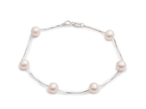STERLING SILVER CHAIN BRACELET WITH FRESHWATER PEARLS