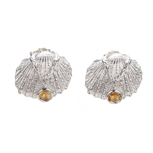 SILVER SHELL EARRINGS WITH CITRINE