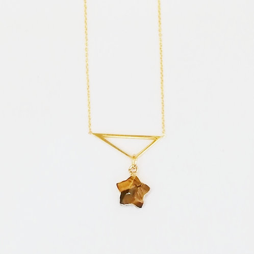 GOLD-PLATED TRIANGLE NECKLACE WITH TIGERS EYE STAR