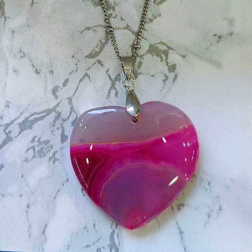 PINK AGATE HEART NECKLACE